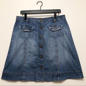 Talbots Button-down Front Jean Skirt - 12